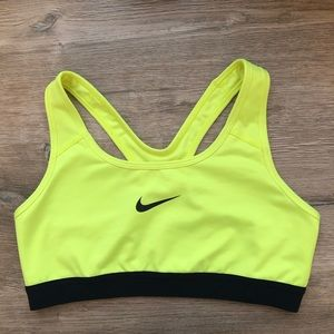 Nike Neon Yellow Sports Bra Size Medium